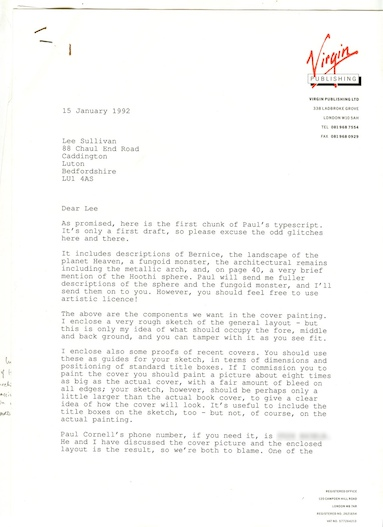 editor Peter Darvill-Evans' letter to Lee Sullivan